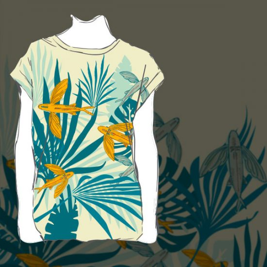Tropical tshirt design flying fishes